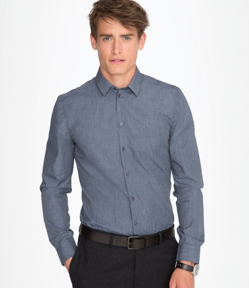 SOL'S Mens Barnet Long Sleeve Heather Poplin Shirt