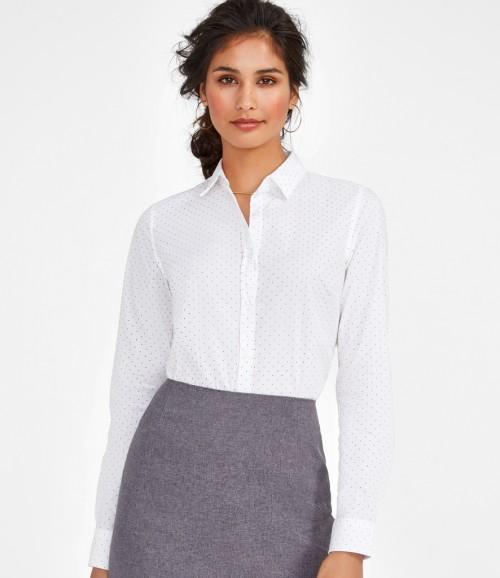 SOL'S Ladies Becker Polka Dot Long Sleeve Poplin Shirt
