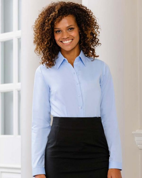 Russell Collection Ladies Long Sleeve Herringbone Shirt