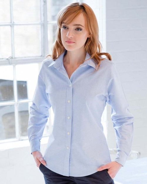 Henbury Ladies Long Sleeve Classic Oxford Shirt