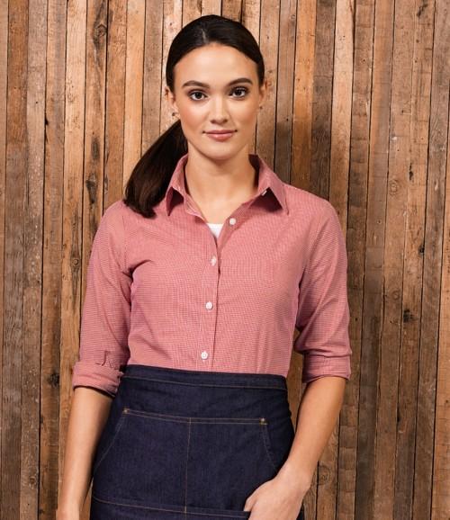 Premier Ladies Gingham Long Sleeve Shirt