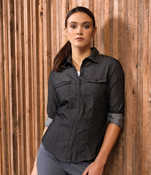 Premier Ladies Jeans Stitch Denim Shirt