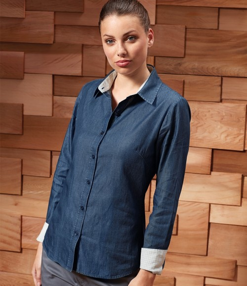 Premier Ladies Long Sleeve Denim-Pindot Shirt