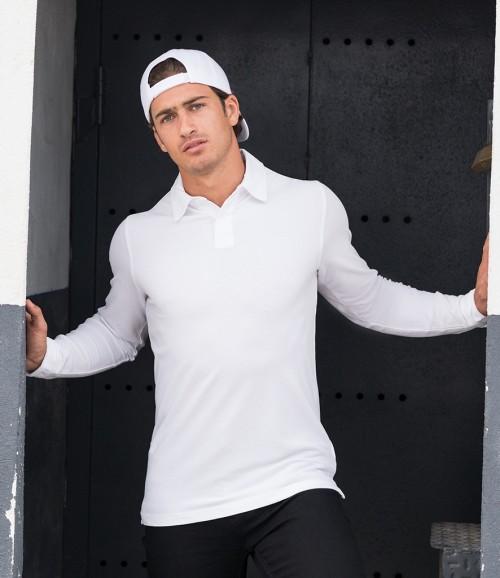 SF Men Long Sleeve Stretch Polo Shirt