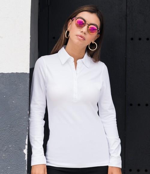 SF Ladies Long Sleeve Stretch Polo Shirt